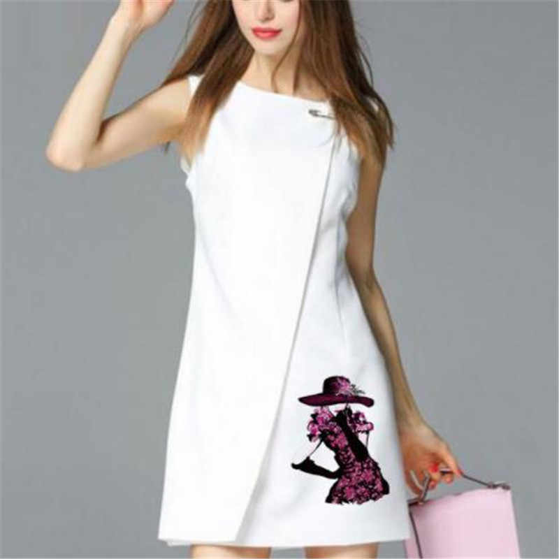 Parche de PVC de moda, ropa grande, falda de flores, impresión térmica, camiseta para mujer, parches de planchar para ropa, pegatinas para chica