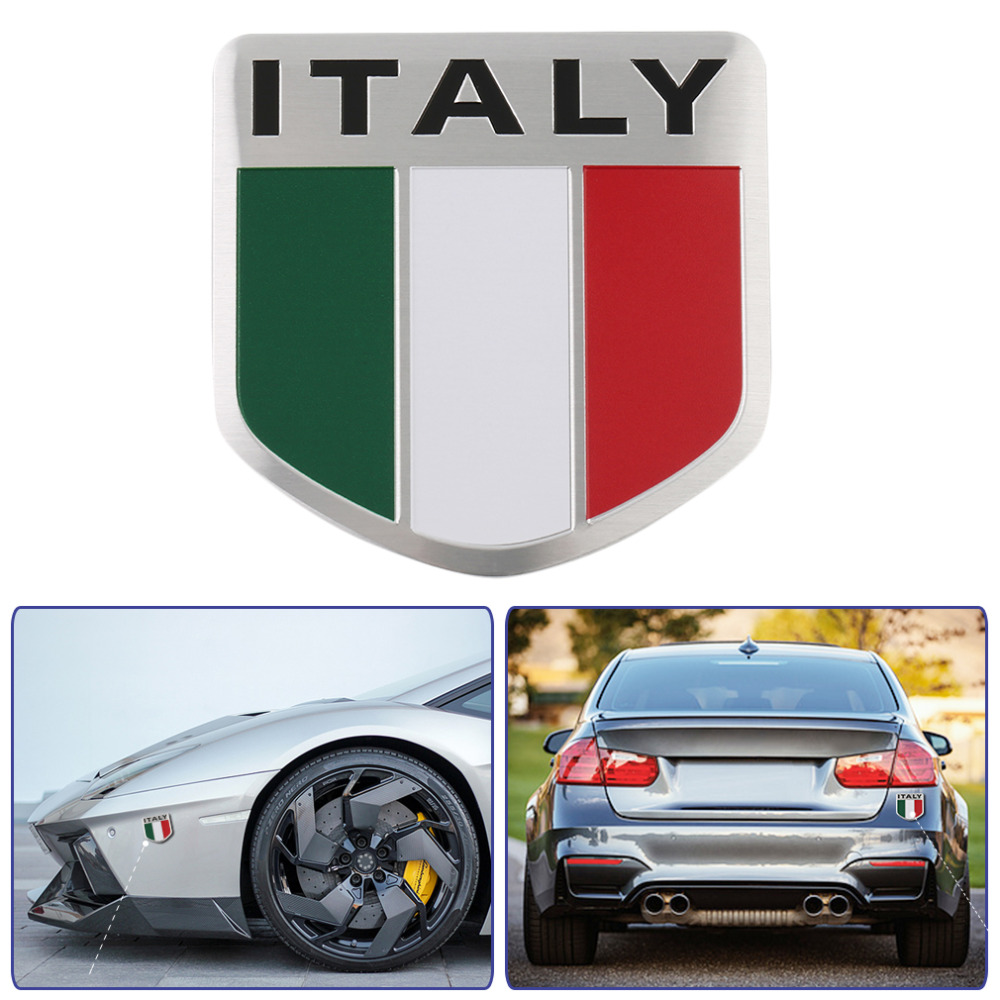 3D Aluminum Italy Map National Flag Car Sticker Car Styling For Iveco Lamborghini Alfa Romeo DeTomaso Maserati Zagato