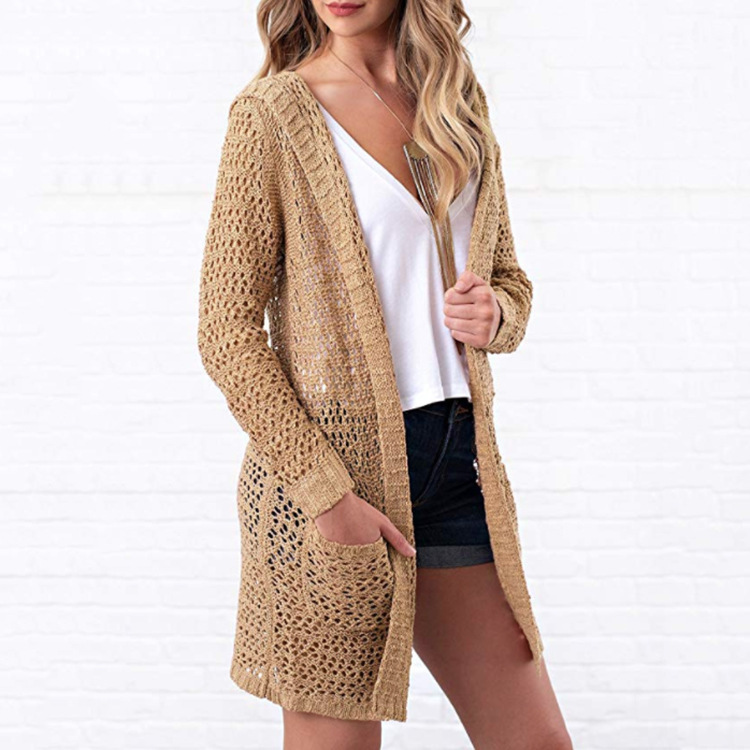 new Women Open Front Long Sleeve Hollow Out Knit Sweater Hooded Cardigan Ladies Casual Loose Pockets Sweater Coat Outwear Top