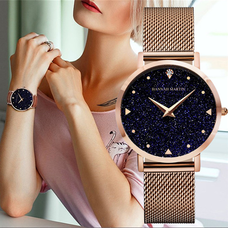 Women Watches Bracelet Luxury Brand Stainless Steel Quartz Ladies Wristwatch Rose Gold Star Rhinestone Female Clock Montre Femme
