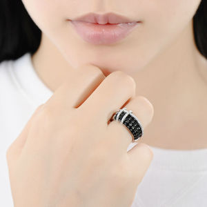 Image 5 - SANTUZZA Silver Ring For Women 925 Sterling Silver Top Quality AAA+ cubic zirconia Natural Black Stones Ring Fashion Jewelry