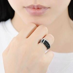 Image 5 - SANTUZZA gümüş yüzük kadınlar için 925 ayar gümüş en kaliteli AAA + kübik zirkonya doğal siyah taş yüzük moda takı