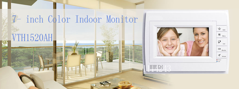 Free Shipping DAHUA Doorbell Camera Video Intercom System Color 7-inch Color Indoor Monitor Touch screen Without Logo VTH1520AH