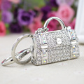 2016 Female New Style Shaped Metal Bag Charming Purse Handbag Keychain Crystal Rhinestone Keychain Handbag Pendant Car Keyring