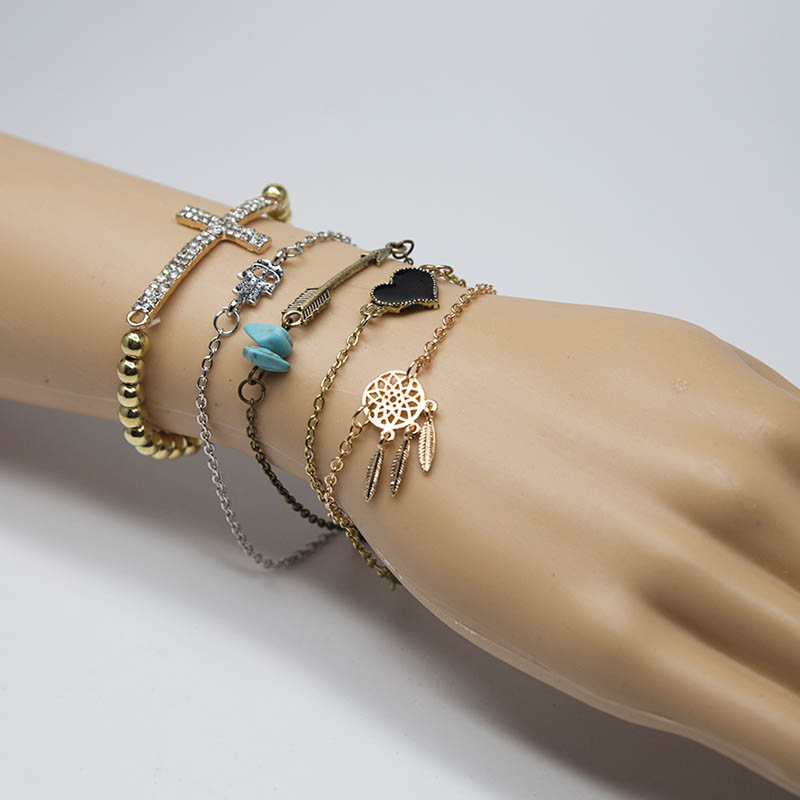 5 Pcs/set ZG Jewelry Boho Gold-Color Silver Color Chain Heart Hand Arrow Leaf Cross With Rhinestone Shape Bracelets