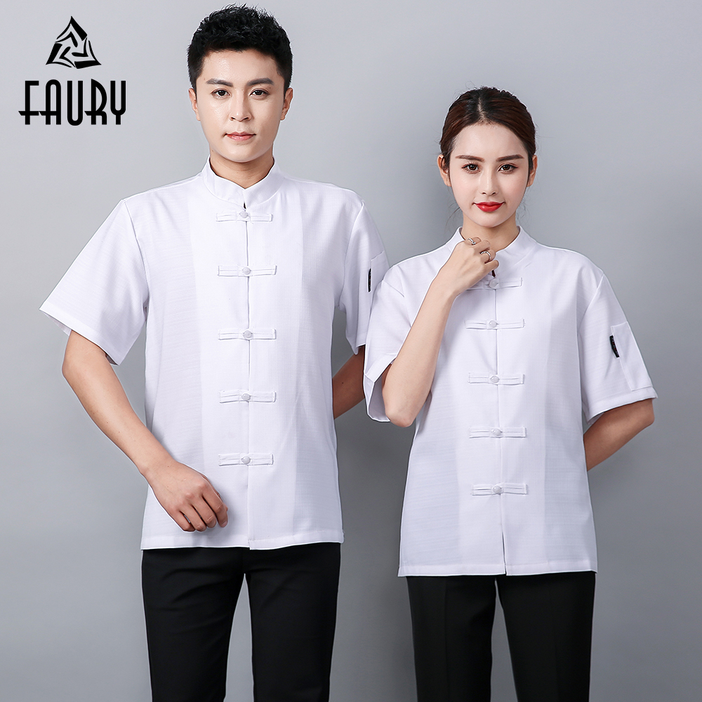 High Quality Wholesale Chef Jacket Kitchen Cooker Chef Uniforms Bakery Food Service Hotel Short Sleeve Breathable Chef Shirt