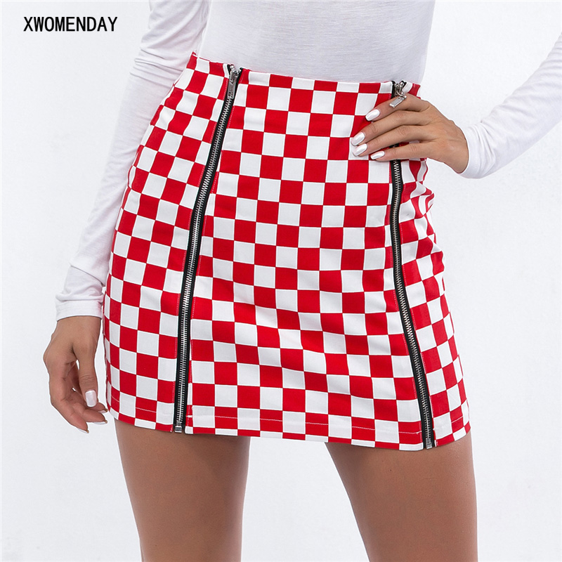 Pencil Sexy High Waist Plaid Mini Short Skirt Casual Women Office Lady Zipper Checkerboard Skirts Korean Style Short Mini Skirts