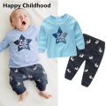 2017 Spring Star Printed Baby Clothes 1pc Baby Boy Tracksuit cotton t-shirt+poppy dog pants clothing sets baby boy outfit