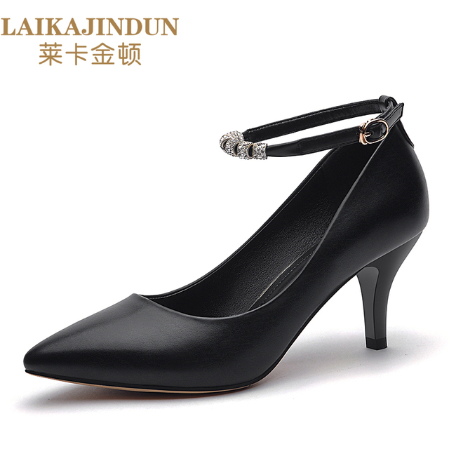 841f21241 LAIKAJINDUN Fashion Women Elegant Heel Shoes Ladies Leisure Office Ankle  Strap Buckle Pumps Girls Sweet Black Nude shoes