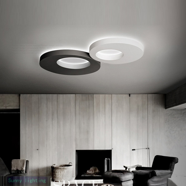 Kitchen Led Lamp Post Modern Ceiling Lights Corridor Balcony Bedroom Home Black White Round