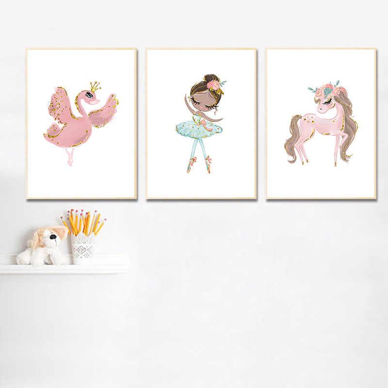 صورة راقصة باليه على شكل بجعة وحيد القرن ملصق لحضانة الأميرة لوحة جدارية مطبوعة من القماش لتزيين غرفة نوم الأطفال في الشمال