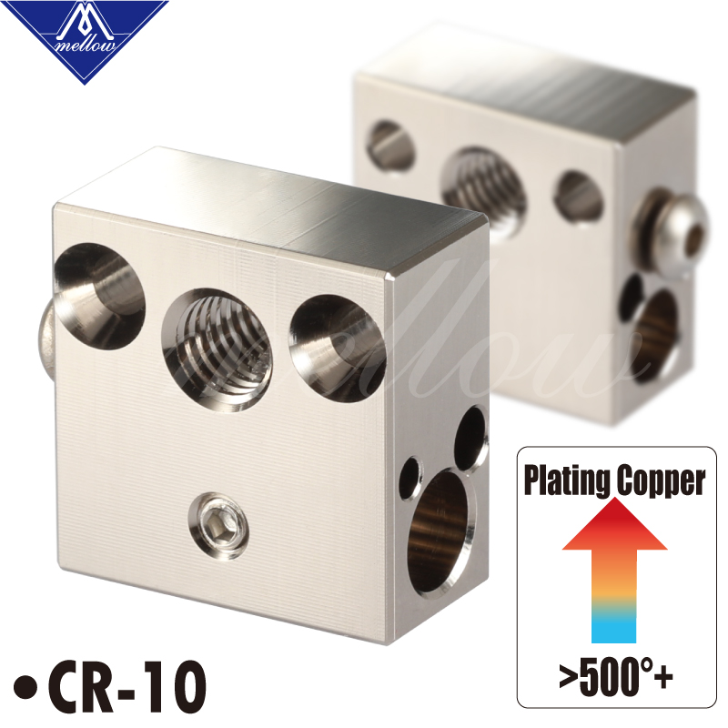 Mellow 3D Printer CR8 CR10 Plated Copper Heated Block for Micro Swiss Hotend MK8 Nozzle