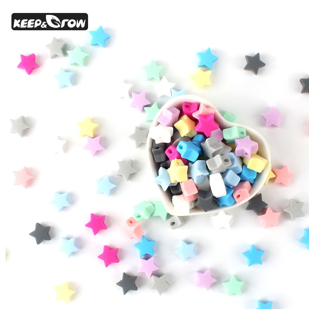 100pcs 14mm Silicone Beads Star Shape Food Grade Silicone Teethers BPA Free Teething Necklace Bracelet Diy Jewelry Teether Toy