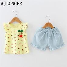 AJLONGER Girls Clothing Sets New Summer Sleeveless T-Shirt+Pants 2 Pcs Kids Children