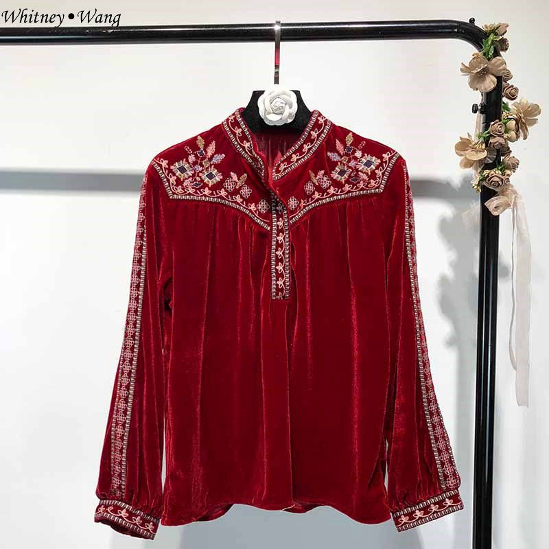 2642 Ww 2018 Whitney Tops Broderie Hiver Style Automne Vintage Rouge Wang Mode Femme Chemise Chemisier Velours Blusas Zp6nwpq1x