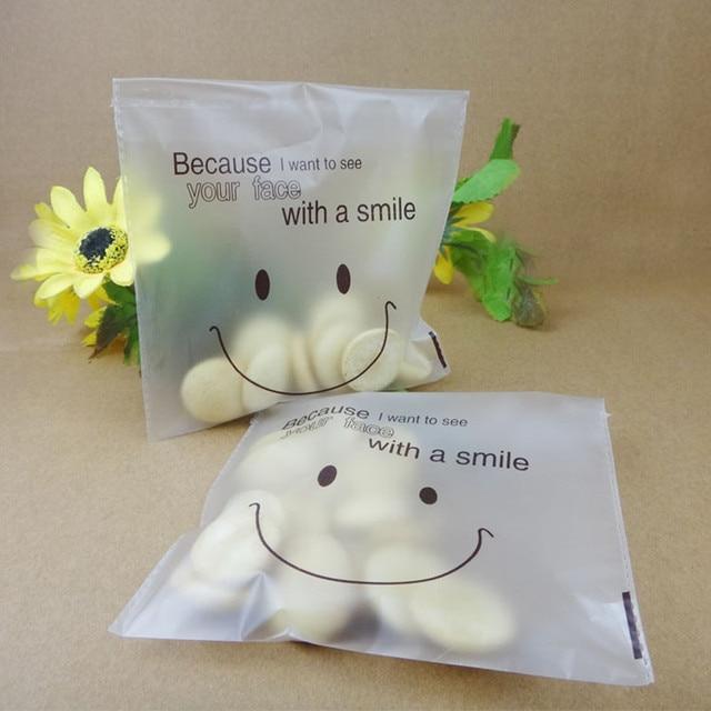 50pcs/lot cute smile face cookie Bags Self-adhesive Plastic Biscuit Packaging Bag 14*14cm plus 2cm