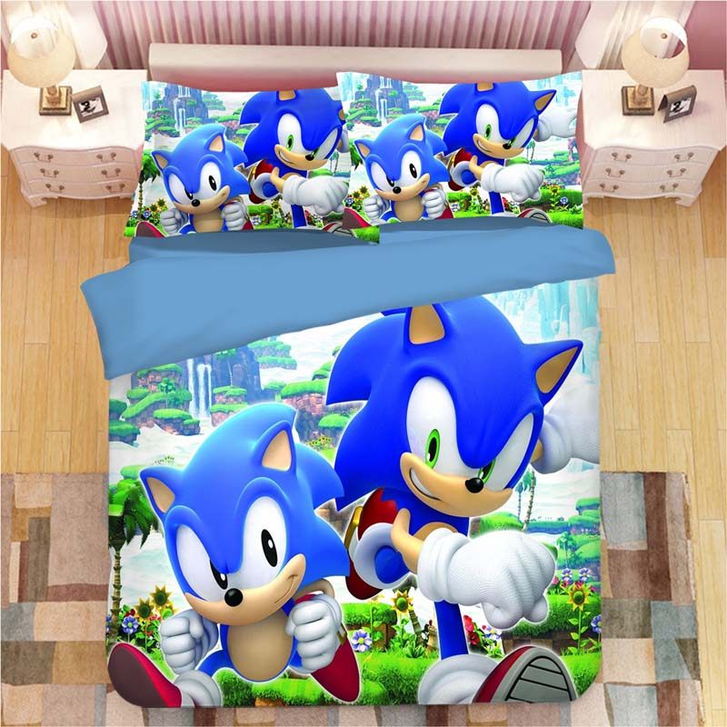 Image 2 - Sonic The Hedgehog Bedding Set Super Mario Bros Duvet Covers Pillowcases Twin Full Queen King Comforter Bedding Sets Bed Linen-in Bedding Sets from Home & Garden