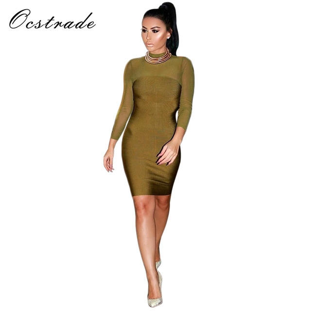15875f4f77 Womens Dresses New Arrival 2016 Olive Green Long Sleeves Mesh Bandage Dress  Sexy Bodycon Dress Wholesale HL