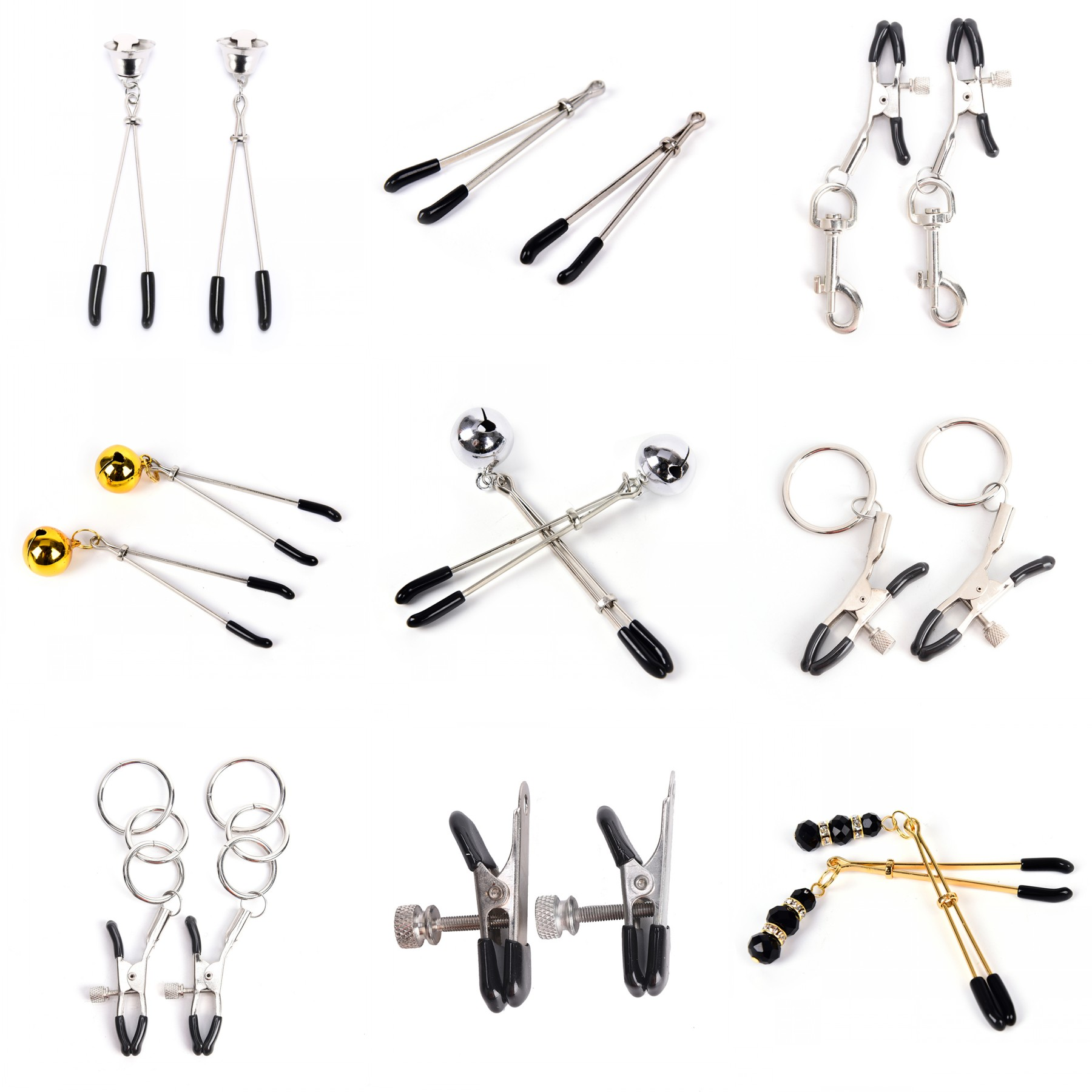 14style Erotic Toy Gold Chain Fetish Nipple Clamps Clips Shaking Milk Stimulate For Couple Breast Clips Exotic Accessories