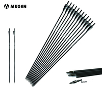 6 12 24pcs Mixed Carbon Arrow Length 30 Inches Spine 500 Black And White Feather For