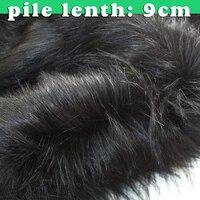9 cm Stapel Zwart Topkwaliteit Faux Fur Stof Lange Stapel Bont stof Bontjas Cosplay 60