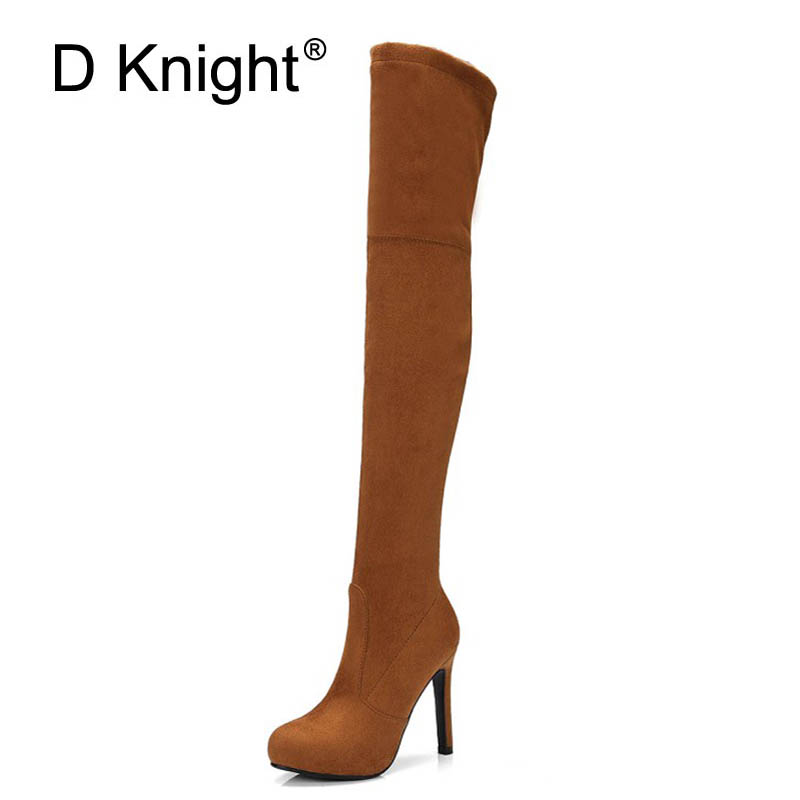 New Women Long Boots Fashion Women High Heels Over The Knee Boots Ladies Casual Slim Side Zipper Streth Fabric Boots Size 34-43 luxury good quality new fashion women zipper jumpsuit slim fit skinny jeans rompers pocket denim jumpsuits size sexy girl casual