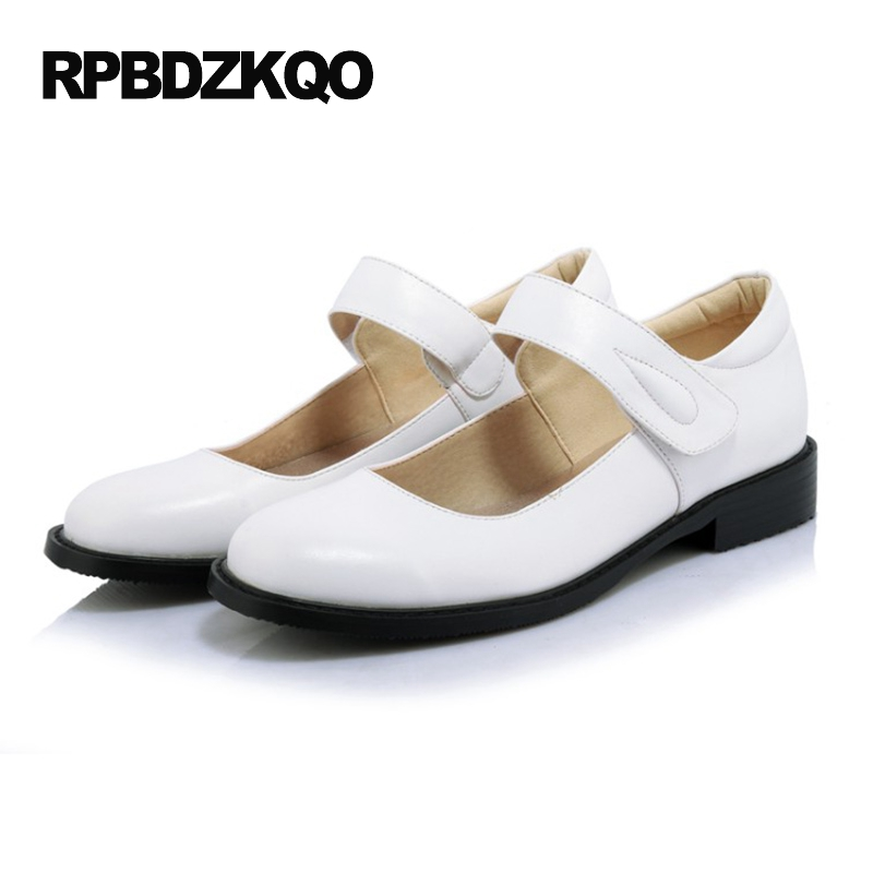 White Round Toe 2017 Platform Spring Autumn Mary Jane Shallow Ladies Beautiful Flats Shoes Women Japanese School Plain Drop spring autumn women shoes fashion rhinestone slip on round toe flats shallow mouth mature shoes mary janes casual loafers shoes