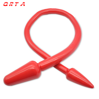 QRTA 레드/블랙/화이트 더블 헤드 실리콘 엉덩이 플러그 항문 플러그 에로틱 장난감 섹스 장난감 섹스 제품 성인 게임 커플 TPR 딜도