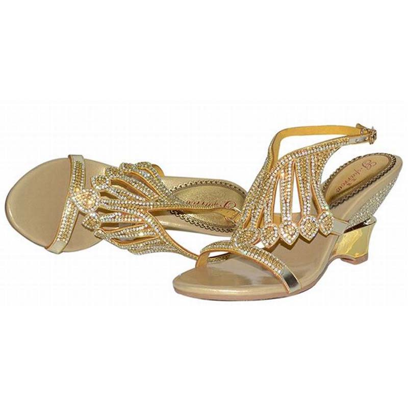 ФОТО plus size 34-44 women 2016 thick high heels sandals fashion rhinestone tassel wedges summer open toe shoes party wedding pumps