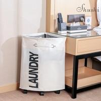 SHUSHI waterproof foldable corner laundry organizer collapsible roller cart laundry hamper home hotel sundries storage basket