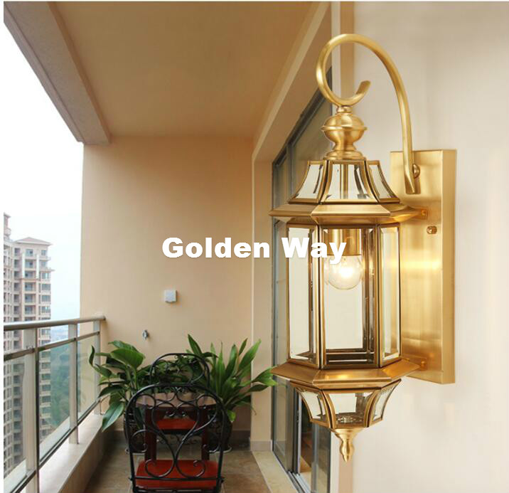 Outdoor Antique Brass Wall Lamp American LED Design Glass Wall Sconce Brass color Wall Lighting Lamp Wall Brackets Lighting antique brass wall lamp 100