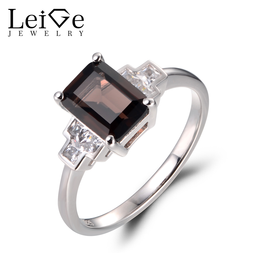 Leige Jewelry Natural Smoky Quartz Rings Promise Rings 925 Sterling Silver Emerald Cut Brown Gemstone Fine Jewelry for WomenLeige Jewelry Natural Smoky Quartz Rings Promise Rings 925 Sterling Silver Emerald Cut Brown Gemstone Fine Jewelry for Women