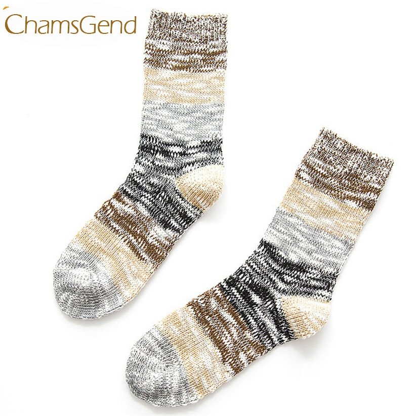 Newly Design Women Men Winter Striped Wool blend Socks Drop Shipping 170113