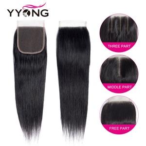 Image 5 - Yyong mechones de cabello lacio con cierre, pelo brasileño ondulado, 3 mechones, extensiones de cabello humano mechones Remy con cierre, extensión de cabello