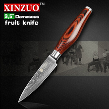XINZUO  3.5″ paring knife Damascus kitchen knives fashion peeling knife kitchen tool table damascus parer knife FREE SHIPPING