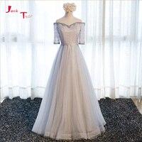 Jark Tozr Custom Made Long Formal Gowns Vestido Longo 2018 Three Quarter Sleeve Beading Lace Tulle