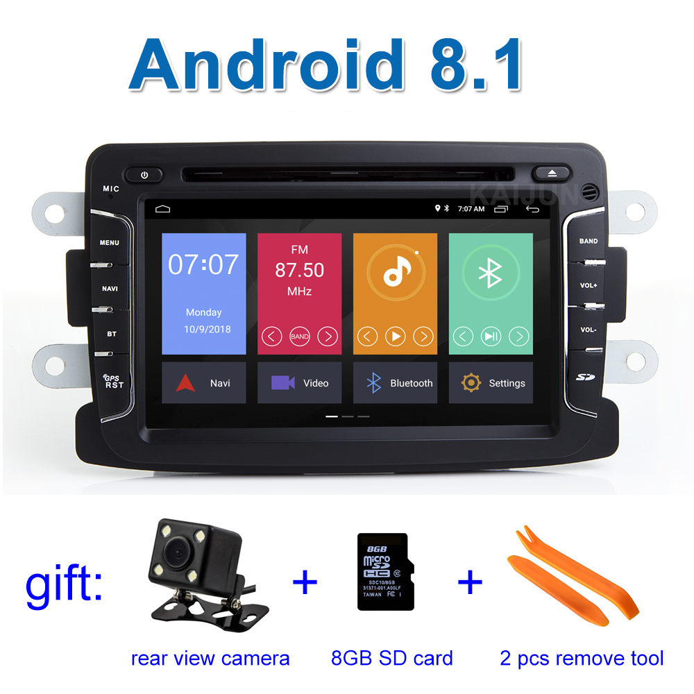 Android 8.1 Car DVD Stereo Player GPS for Dacia Sandero Renault Duster Captur Lada Xray 2 Logan 2 with WiFi Radio BT