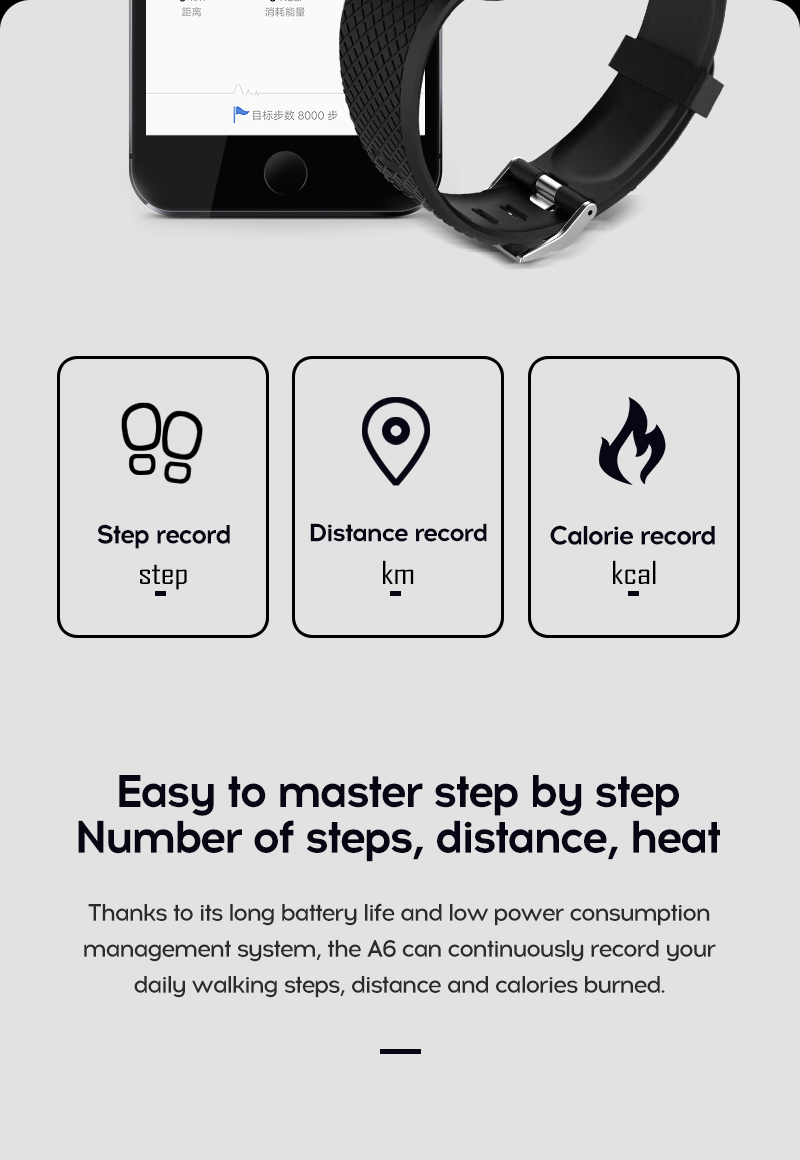 LYKRY 116 plus Smart Bracelet Fitness Tracker Heart Rate Blood Pressure Monitor Smart Band IP67 Waterproof Sports For Android IOS+Box (7)