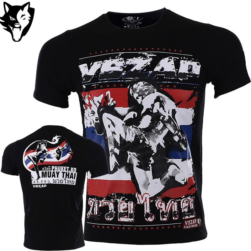 VSZAP Boxing Shirt Gym Sport Shirt Fighting Jiu Jitsu Martial Arts Fitness Training MMA Muay Thai Jerseys Men Homme