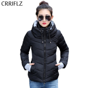 Image 2 - CRRIFLZ Autumn Winter Collection Short Jacket Women Parkas Outerwear Solid Hooded Coats Female Slim Cotton Padded Basic Jacket