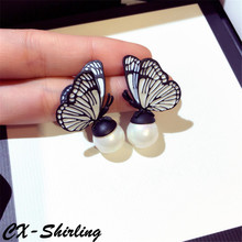CX-Shirling Quality Pearl Earring New Design Fashion Butterfly Female Elegant Jewelry Women All Match