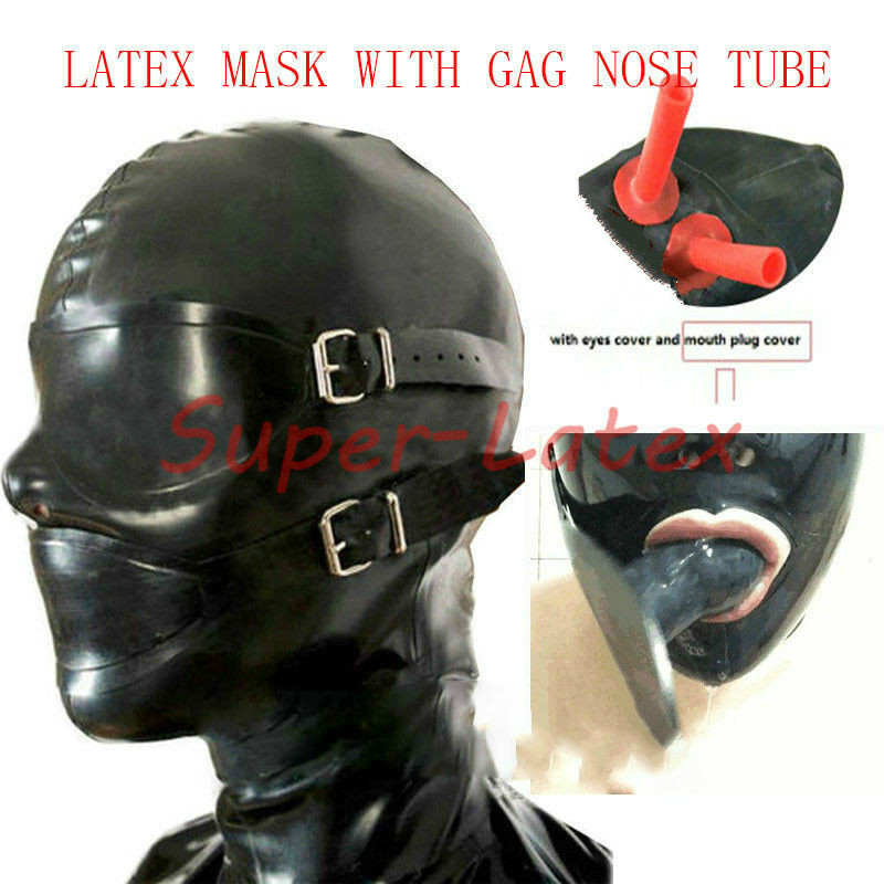 Latex Rubber Enclosure Hood Rubber Hood with Eyeshade and Gag NOSE TUBE bdsm mask bdsm bondage
