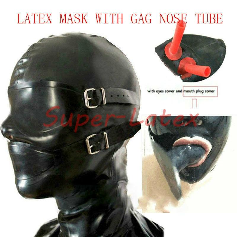 Latex Rubber Enclosure Hood Rubber Hood with Eyeshade and Gag NOSE TUBE bdsm mask bdsm bondage adult games restraints mouth gag