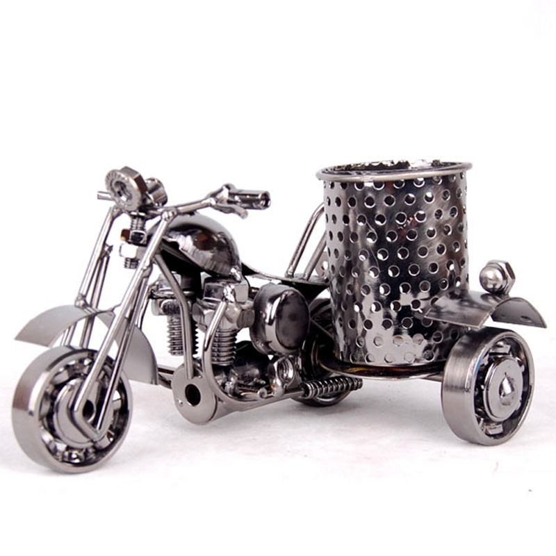 Marco Metal Motorcycle Pen Holder Container Retro Motorbike Pencil Cup Antique Motor Bicycle Pen Holder Home Office Decor Pencil creative ceramic schedule mug w sponge rubber suction cup pen holder pencil white