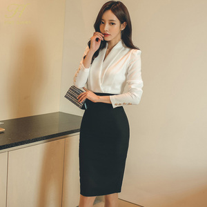 Image 3 - H Han Queen Solid Patchwork Korean Sheath Pencil Autumn Dress Women 2018 Official Wear Bodycon Dresses Casual Business Vestidos