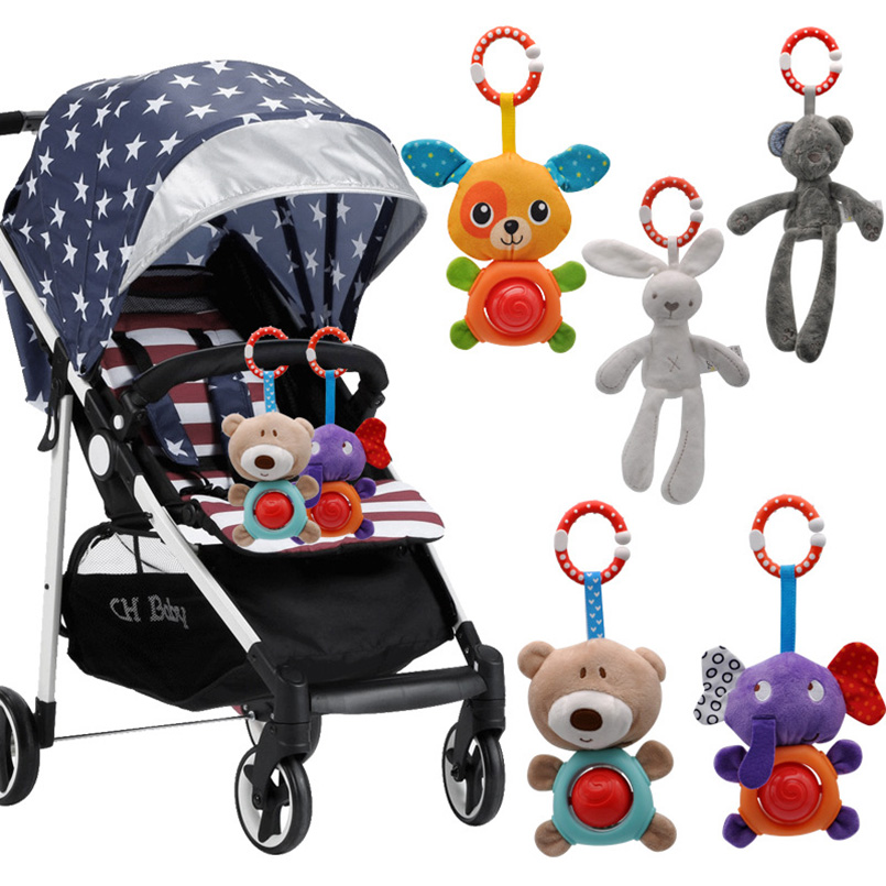 Newborn/Infant Baby Rattles Toys Stroller Hanging Soft Toy Cute Animal Doll Baby Crib Bed Hanging Bells Baby Toys