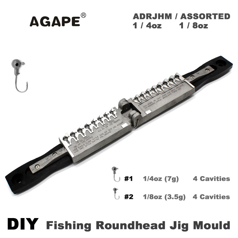 AGAPE Fishing Roundhead Jig Mould ADRJHM ASSORTED COMBO 1 4oz 7g 1 8oz 3 5g 8