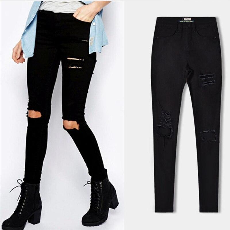 Nueva Moda Negro Jeans De Mujer Con Agujero Vaqueros Para Mujer Pantalones Vaqueros Mujer Pantalones De Jean De Denim Rayado Pantalones Femeninos Pantalones Vaqueros Aliexpress