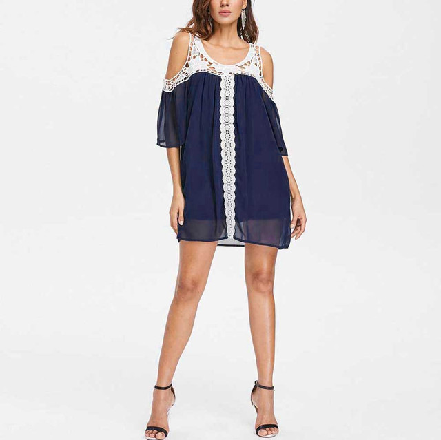875f85c16 moda mujer 2018 Women s Sexy Plus Size Casual ladies Cold Shoulder Lace  Splice Short Sleeve Mini Dresses vestidos de festa