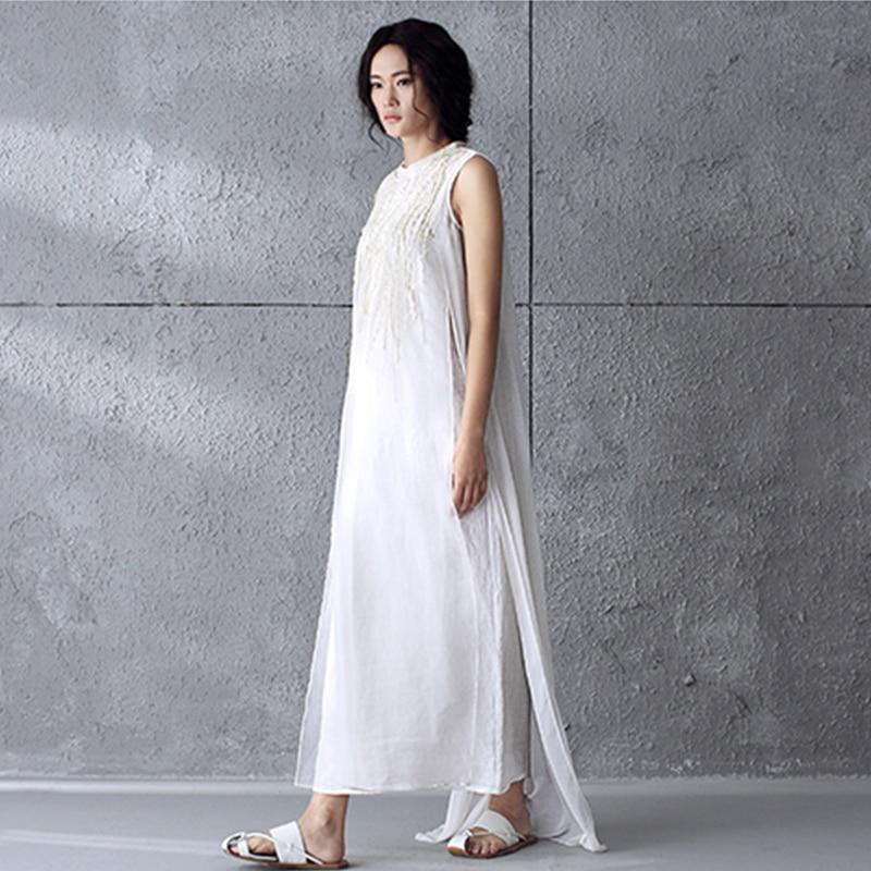 Plus Élégant Femmes Robe Coton Robes Manches Vintage Sans Maxi Broderie Imprimer D5 2016 La Taille Blanc D'été Parti Long 4RqA5j3L